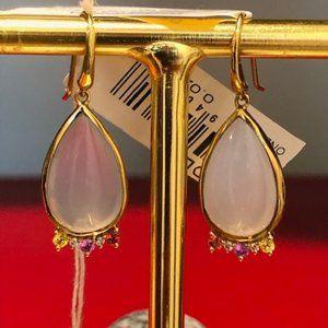 Ippolita NWT 18K gold chalcedony diamond earrings